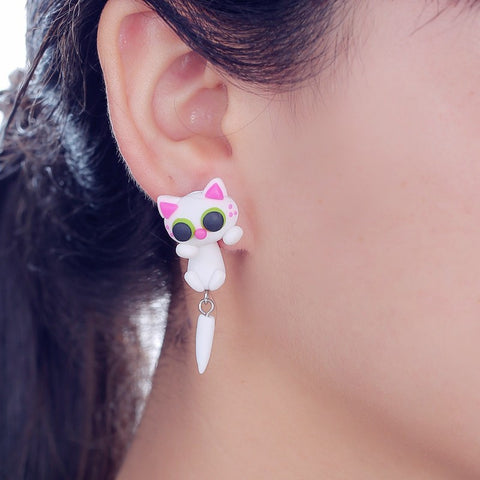 "Kawaii ! La paire de boucles d'oreilles ""White Kawaii Kitty"""