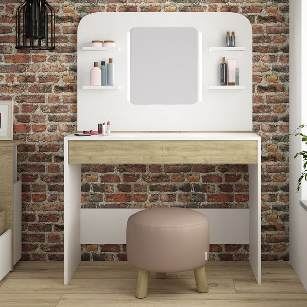 Trasman Vanity Dressing Table with Strip Lights & Mirror