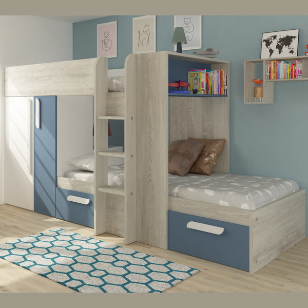 Trasman Blue Barca Bunk Bed with Wardrobe & Storage