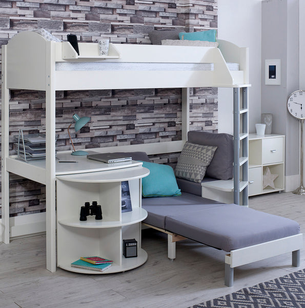 Noah D High Sleeper with Sofa Bed & Pull Out Desk