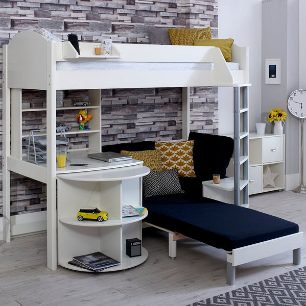 Stompa Casa E 3 High Sleeper with Sofa Bed, Pull Out Desk & Shelf