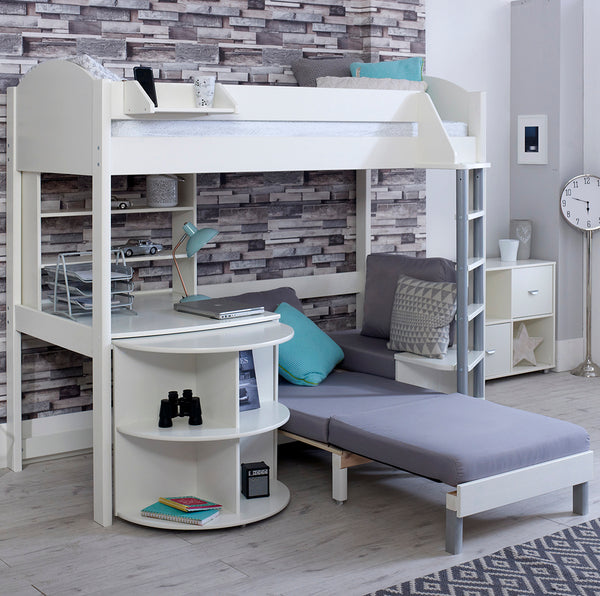 Noah E 3 High Sleeper with Sofa Bed, Pull Out Desk & Shelf