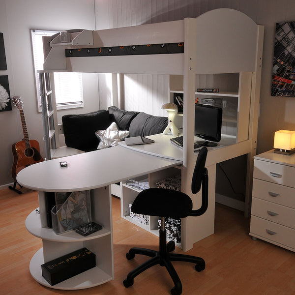 Medium image of sale stompa casa 4 white high sleeper with sofa bed  u0026 pull out desk