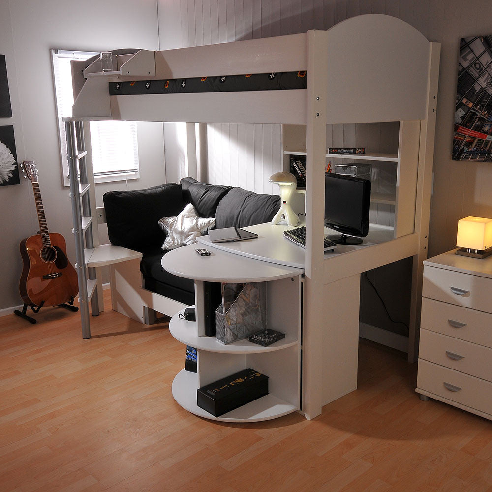Stompa Casa 4 White High Sleeper with Sofa Bed Pull Out Desk