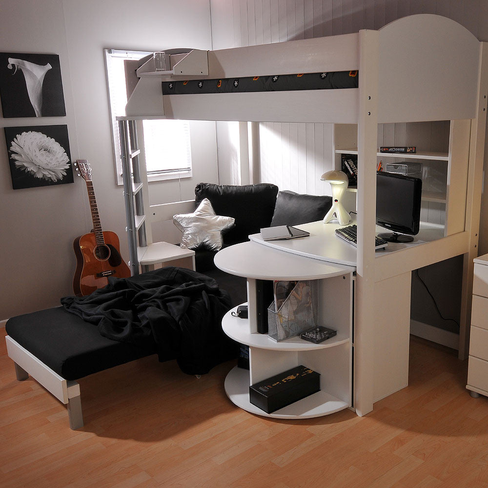 Stompa Casa 4 White High Sleeper With Sofa Bed Amp Pull Out Desk Family Window