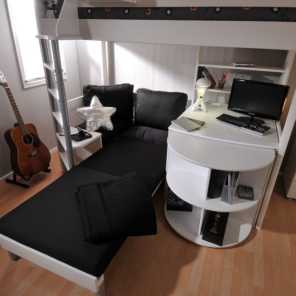 Stompa Noah 4 High Sleeper With Sofa Bed Pull Out Desk Shelf Amp Cube Unit Family Window