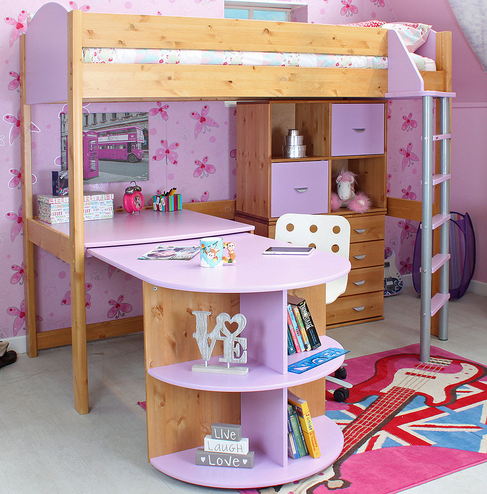 Stompa Casa Pine/Lilac High Sleeper with Pull Out Desk - Clearance!