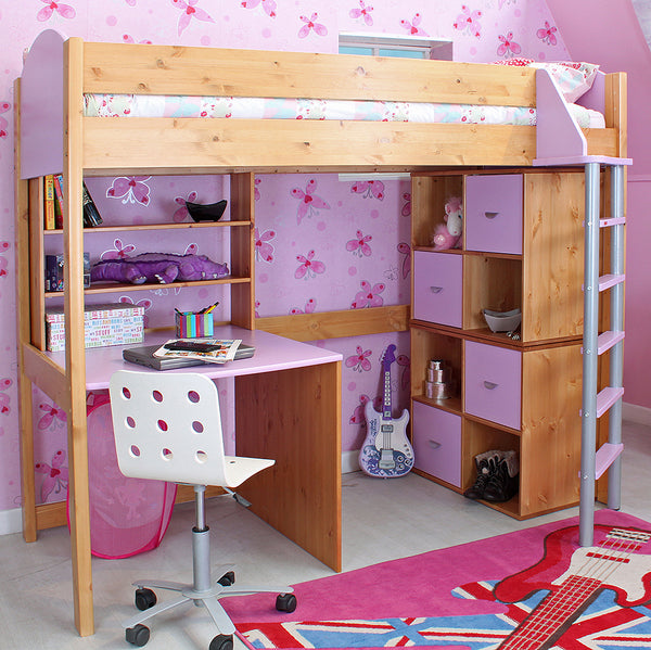 Stompa Casa Pine/Lilac High Sleeper with Desk - Clearance!