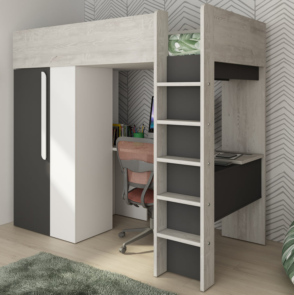 Picture of: Trasman Mont Blanc High Bed With Built In Wardrobe Desk Family Window