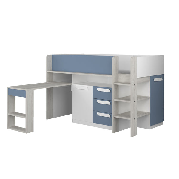 Trasman Blue Girona Midsleeper Bed with Desk & Storage
