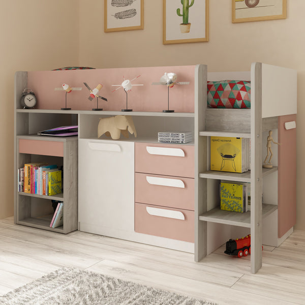 Trasman Pink Girona Midsleeper Bed with Desk & Storage