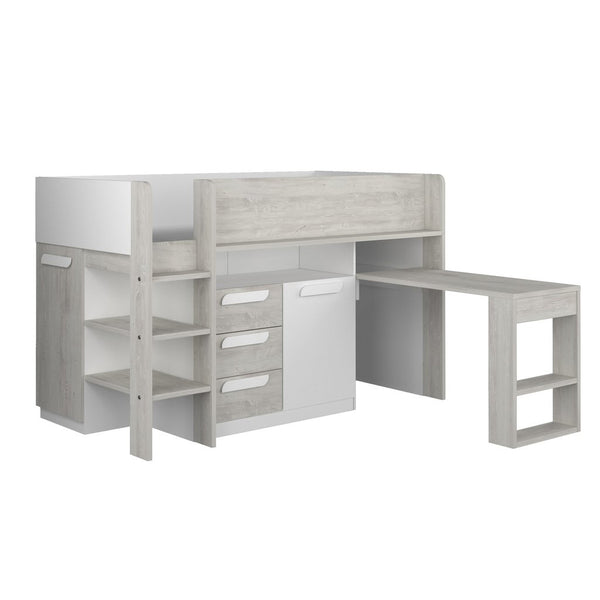 Trasman White Girona Midsleeper Bed with Desk & Storage