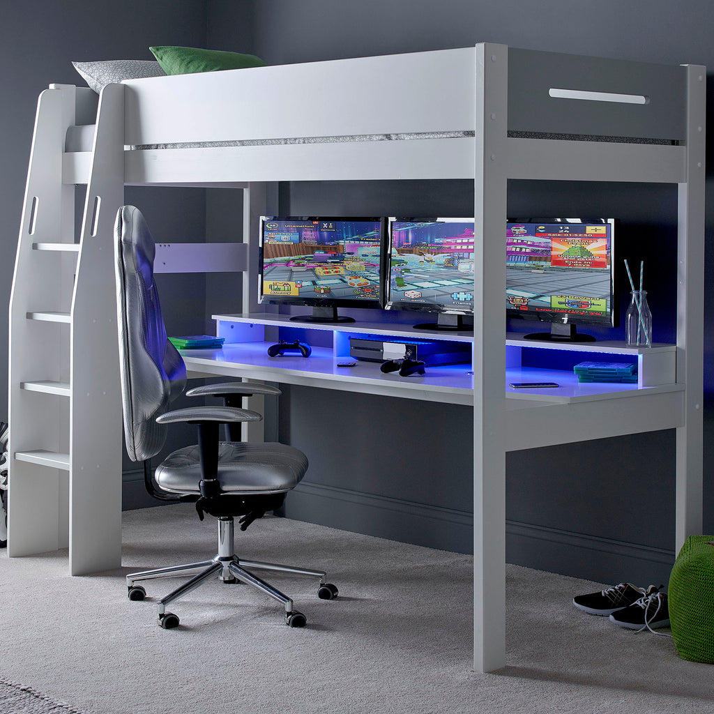 Urban High Sleeper Console Gaming Bed with Built-In Gaming Desk