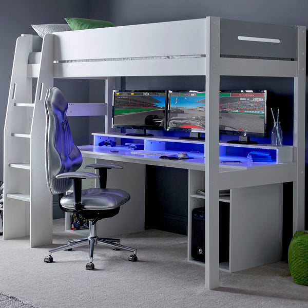 Urban High Sleeper PC Gaming Bed with Built-In Gaming Desk