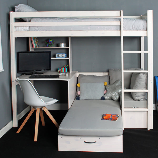 Thuka Hit High Sleeper Bed with Desk & Sofa Bed Below