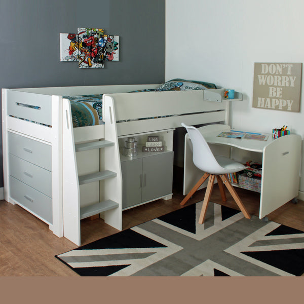 Kids Avenue Urban Grey Midsleeper 1 with Pull Out Desk, Drawers & Cupboard