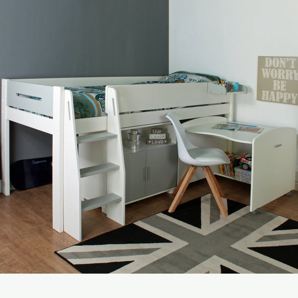 Kids Avenue Urban Grey Midsleeper 2 with Pull Out Desk & Cupboard