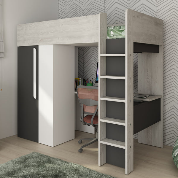 Trasman Mont Blanc High Bed with Built in Wardrobe & Desk