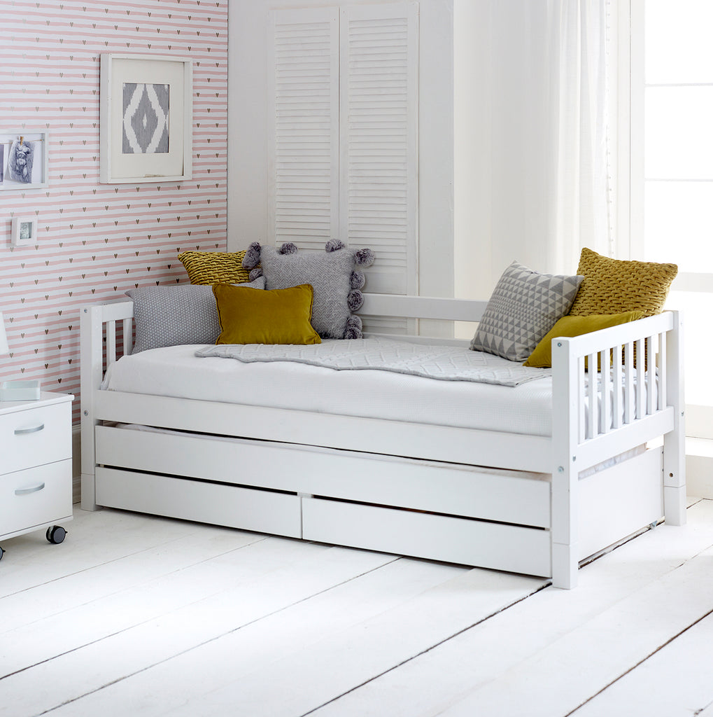 Nordic Day Bed With Trundle Bed Drawer Storage Family Window