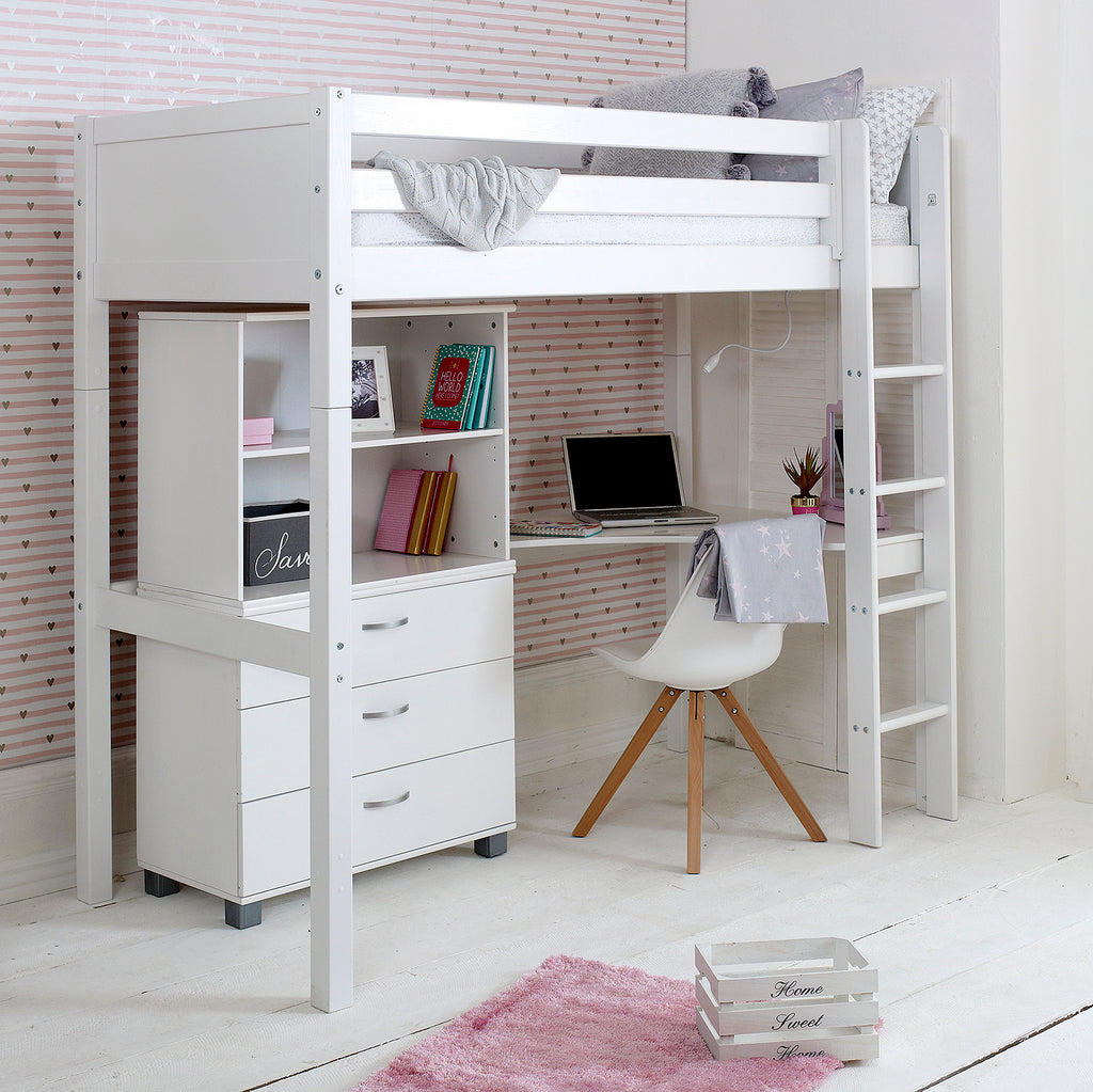 Flexa Nordic Highsleeper Bed With Desk, Drawers U0026 Shelving