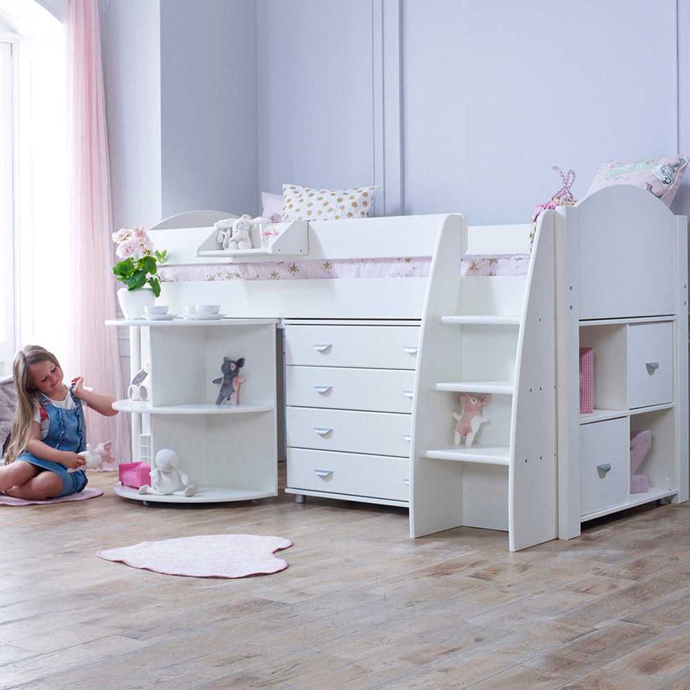 Stompa Rondo E Cabin Bed with Pull Out Desk, Drawers & Storage