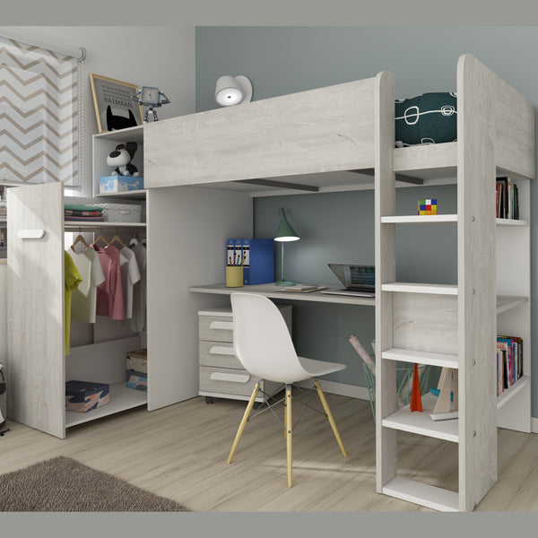 Trasman Tarragona High Bed with Desk, Trundle Wardrobe & Drawers