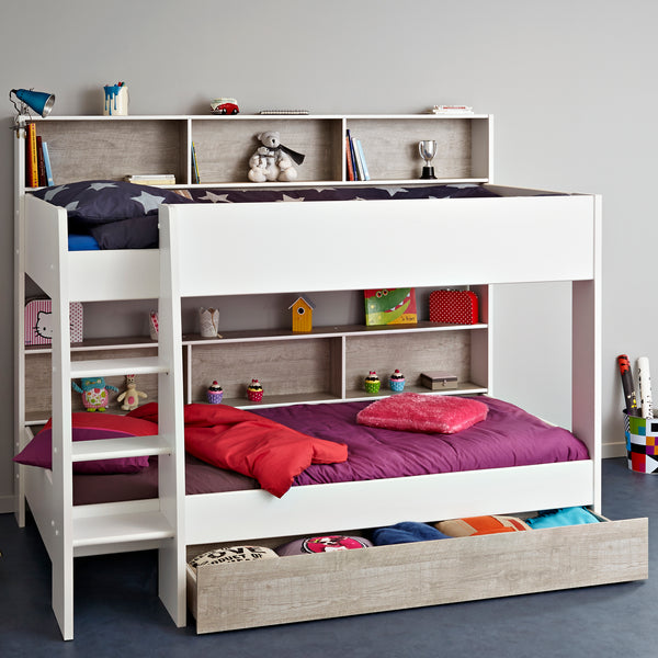 Parisot Tam Tam 3 White/Grey Bunk Bed with Optional Drawer