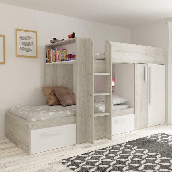 Wood Bunk Beds With Storage Drawers Stairs For Kids