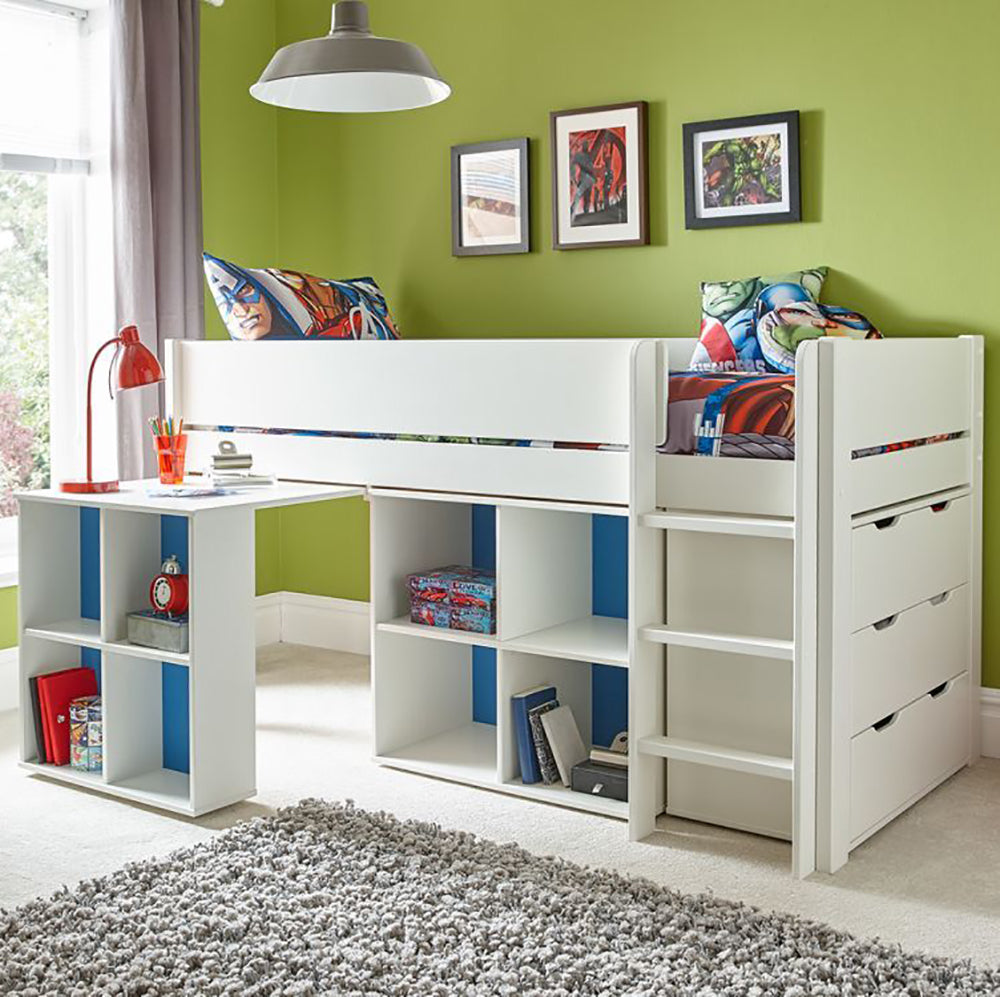 Classroom White Midsleeper Cabin Bunk Bed with Pull Out Desk & Storage Below - Clearance!