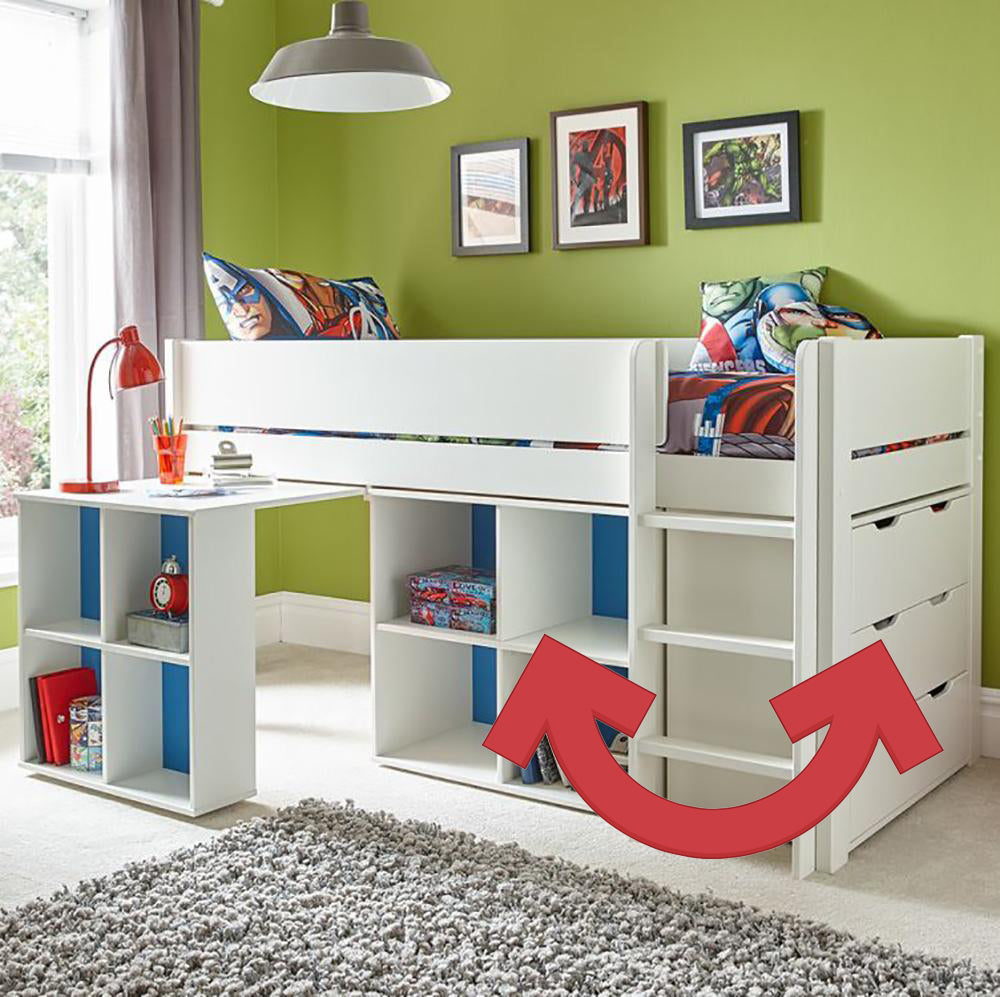 Classroom White Midsleeper Cabin Bunk Bed With Pull Out Desk Storage Family Window