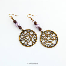 Load image into Gallery viewer, Antique Bronze Heart Patterned Filigree and Pearl Earrings