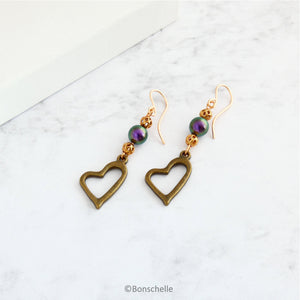 Antique Bronze Open Heart and Pearl Earrings