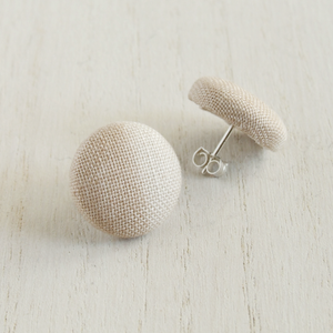 beige two toned fabric and sterling silver earrings for women
