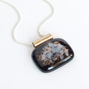 contemporary artisan black fused glass pendant necklace for women 1