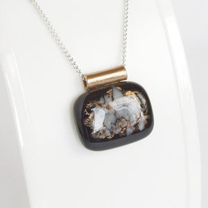 contemporary artisan black fused glass pendant necklace for women 2