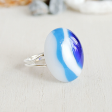 Load image into Gallery viewer, Bonschelle modern blue and white striped fused glass cabochon adjustable ring-1