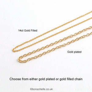 showing choice of gold plated or 14K gold filled chain