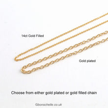 Load image into Gallery viewer, examples of the 14K gold filled chain and the gold plated chain