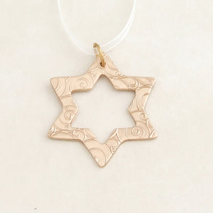 handmade small bronze metal christmas star ornament