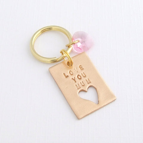Love You Mum Keyring, Bronze with Swarovski Heart