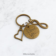 Load image into Gallery viewer, Bronze 8th or 19th anniversary keyring with an I love you charm, double heart charm and number 8 charm or infinity charm