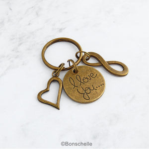 Bronze 8th or 19th anniversary keyring with an I love you charm, double heart charm and number 8 charm or infinity charm