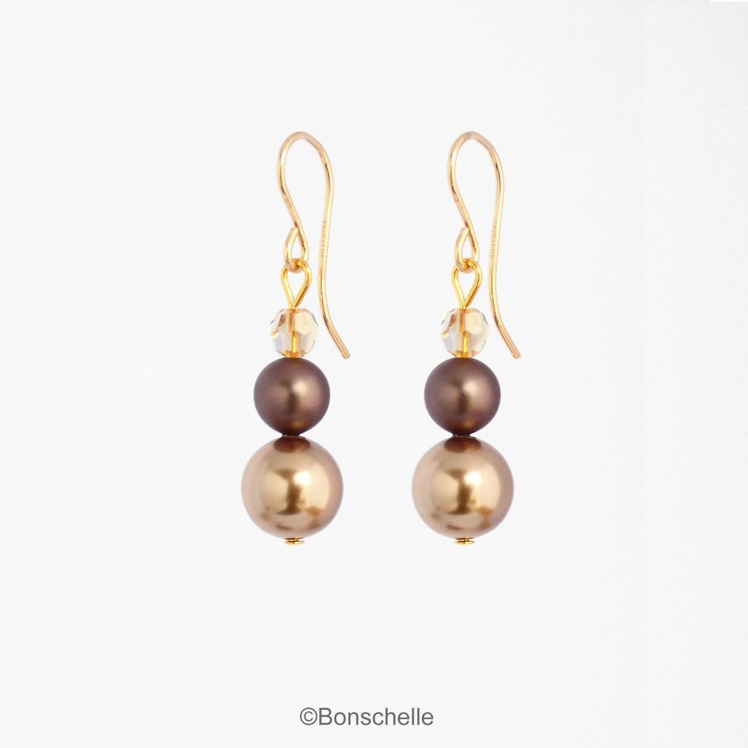 Bronze Pearl Earrings with 14K Gold Filled Earwires