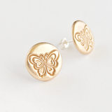 Round butterfly patterned gold bronze and sterling silver stud earrings for women
