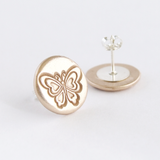 Round butterfly patterned earrings for women in gold bronze and sterling silver
