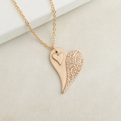 Artisan Handmade Bronze Split heart pendant necklace for women 3