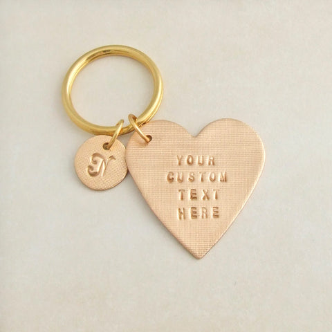 handmade bronze heart shaped custom text personalised keyring 1