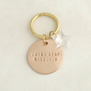 handmade motivational bronze keyring gift with swarovski crystal star 2
