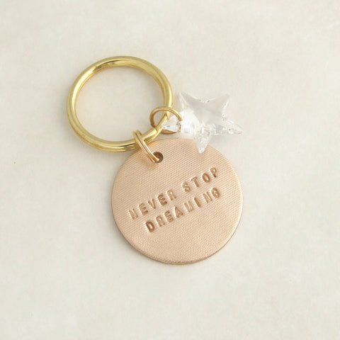 handmade motivational bronze keyring gift with swarovski crystal star 1