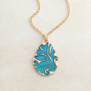 handmade bronze and blue cold enamel teardrop pendant necklace 2